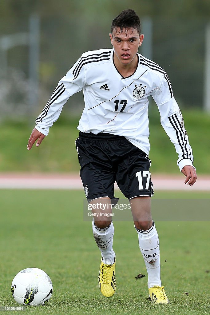 Devante Parker of Germany in action during the Under17 Algarve Youth Cup match between U17 Portugal and U17 Germany at the Stadium Bela Vista on February 12, 2013 in Parchal, Portugal.