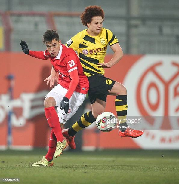 Devante Parker of Mainz is challenged by Mustafa Amini of Dortmund during the Third League match between 1 FSV Mainz 05 II and Borussia Dortmund II...