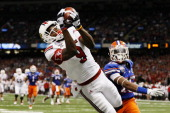 DeVante Parker of the Louisville Cardinals catches a second quarter touchdown pass over Loucheiz Purifoy of the Florida Gators during the Allstate...