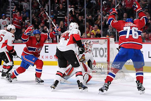 Devante SmithPelly and PK Subban celebrate the second period goal by teammate Max Pacioretty of the Montreal Canadiens in Game Two of the Eastern...