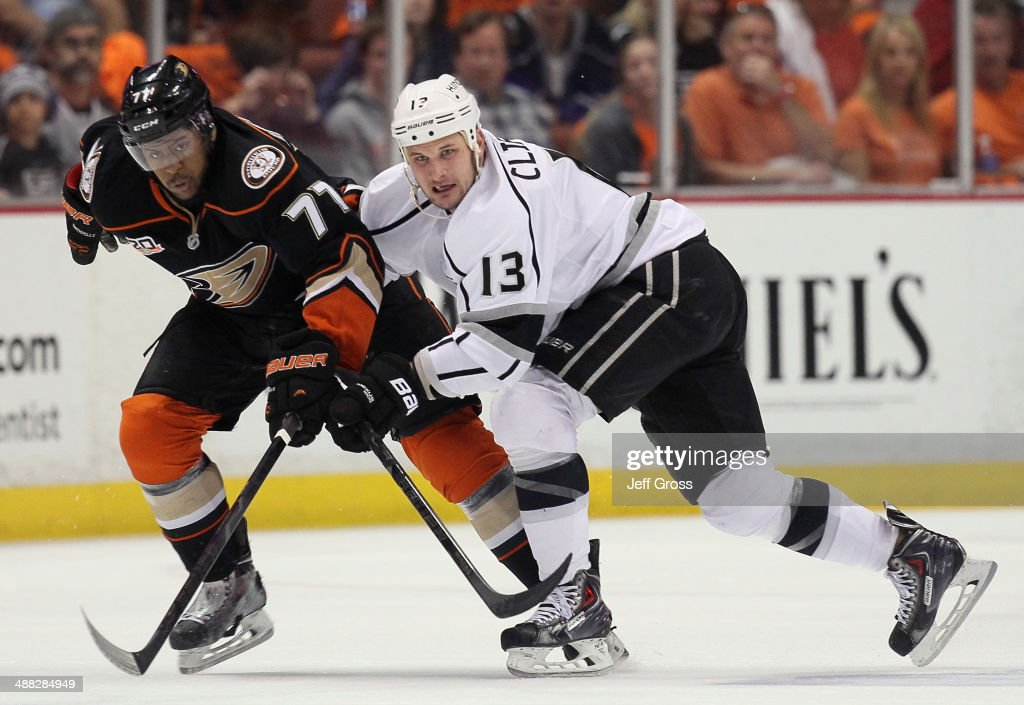 Devante Smith-Pelly #77 of the Anaheim Ducks and Kyle Clifford #13 of the Los Angeles Kings fight for position in Game One of the Second Round of the 2014 NHL Stanley Cup Playoffs at Honda Center on May 3, 2014 in Anaheim, California.