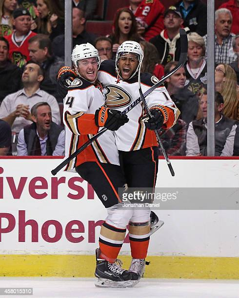 Devante SmithPelly of the Anaheim Ducks celebrates his unassisted shorthanded goal with Cam Fowler in the third period against the Chicago Blackhakws...