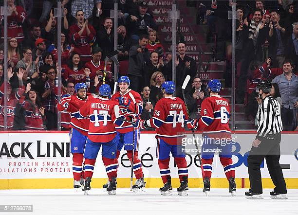 Devante SmithPelly of the Montreal Canadiens celebrates after scoring a goal against the Toronto Maple Leafs in the NHL game at the Bell Centre on...