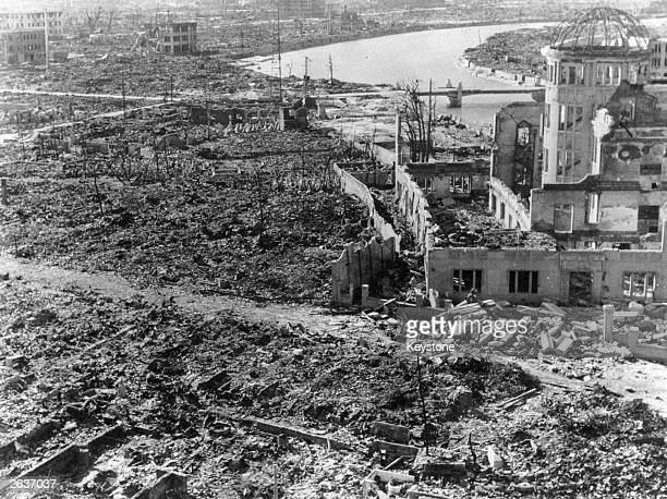 Devastation at Hiroshima after the atomic bomb was dropped The building on the right was preserved as the Hiroshima Peace Memorial Atomic Bomb Dome...