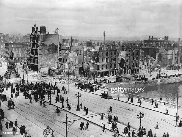 Devastation on Sackville Street where it crosses the River Liffey due to the Easter Rising of 1916 The street later was renamed O'Connell Street a...
