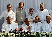H D Deve Gowda a former Indian prime minister Samajwadi Party chief Mulayam Singh Yadav Sharad Yadav of the Janata Dal party Lalu Prasad Yadav of...