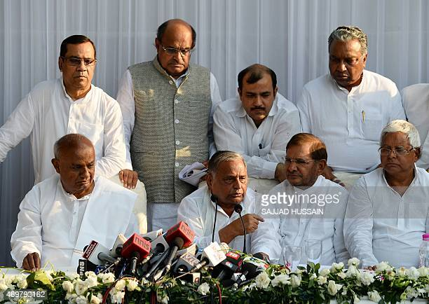 H D Deve Gowda a former Indian prime minister Samajwadi Party chief Mulayam Singh Yadav Sharad Yadav of the Janata Dal party Lalu Prasad Yadav of...
