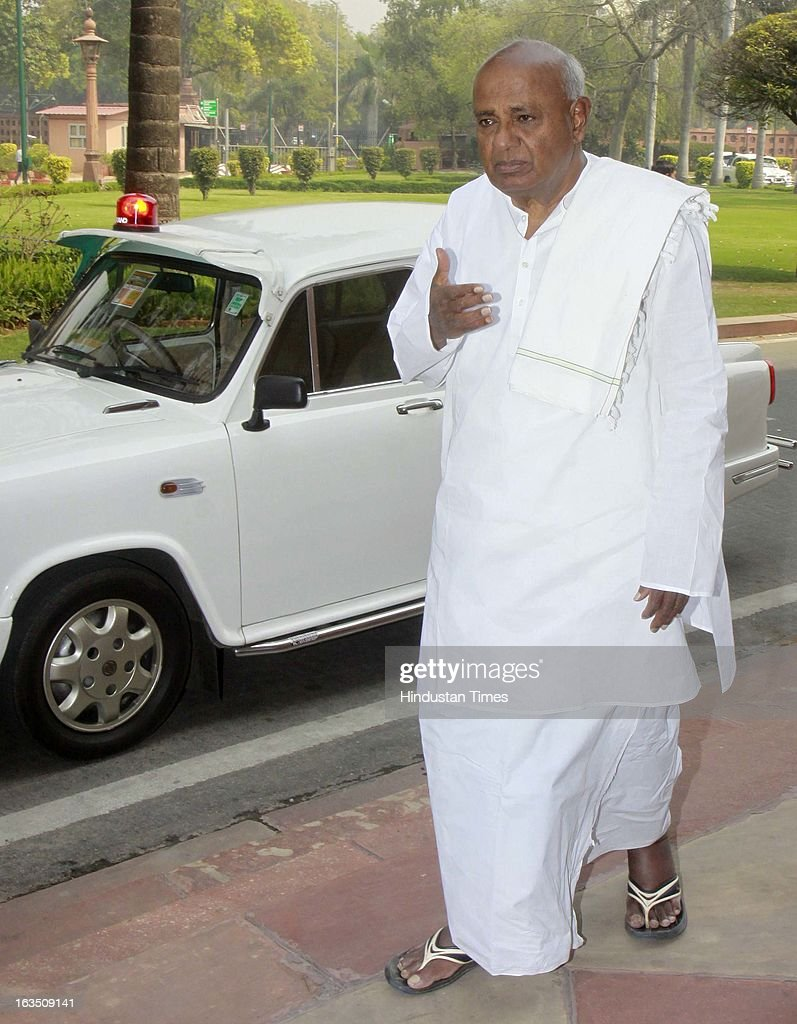 H. D. Deve Gowda Former Prime Minister of India arrive at parliament house during the ongoing parliament budget session on March 11, 2013 in New Delhi, India.