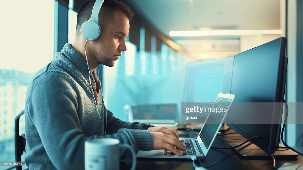 Developer at work. : Stock Photo