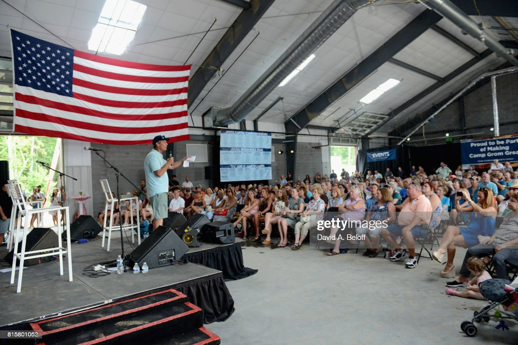 Developer Bruce Thompson introduces Cole Swindell at Camp Grom's TowneBank Sportsplex for Everybody on July 16, 2017 in Virginia Beach, Virginia.