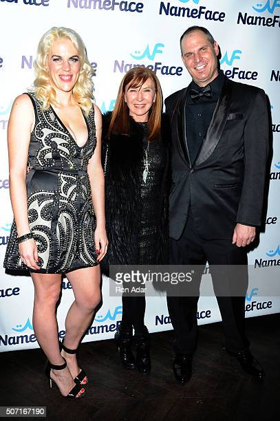 Developer Daniela Kirsch Designer Nicole Miller and Photographer Steve Eichner attend the NameFacecom launch at No 8 on January 27 2016 in New York...