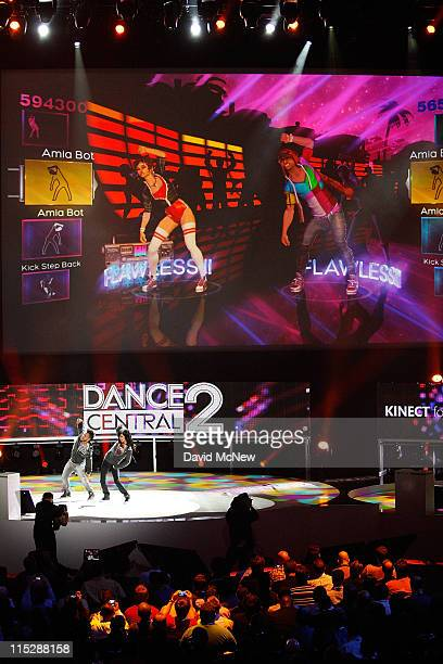 Developers demonstrate the Dance Central 2 game at the Electronic Entertainment Expo on June 6 2011 in Los Angeles California More than 45000 people...