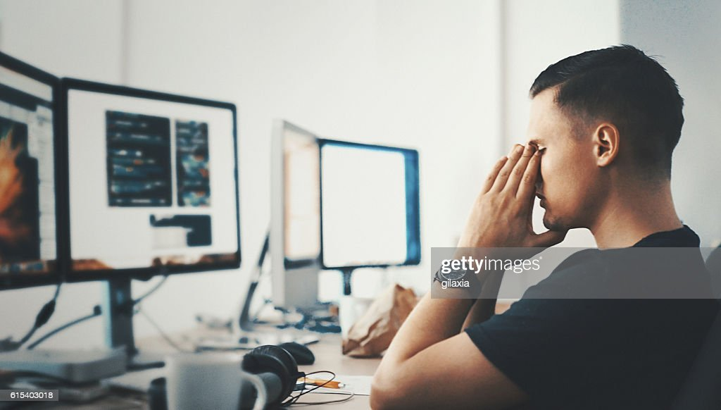 Developer's trouble. : Stock Photo