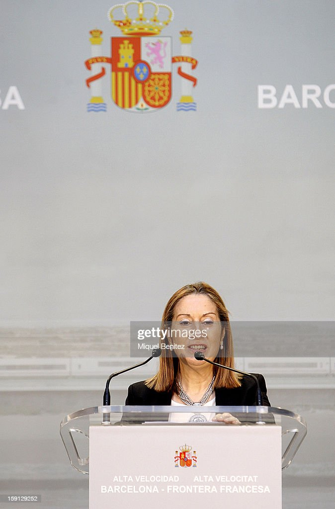 Development Ana Pastor attends a press presentation at Girona train station during the inauguration of the AVE high-speed train line between Barcelona and the French border on January 8, 2013 in Barcelona, Spain.