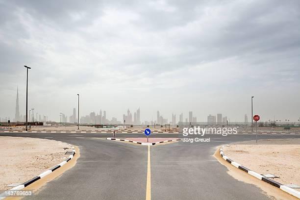 Development area and Dubai skyline in background