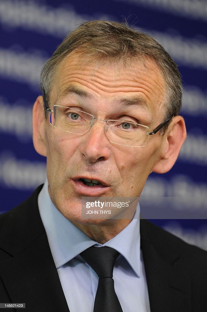EU Development commissioner Andris Piebalgs speaks during a press conference on the new initiative to fight against any kind of discrimination in...