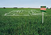Development plans on lawn by 'land sale' sign (digital composite)