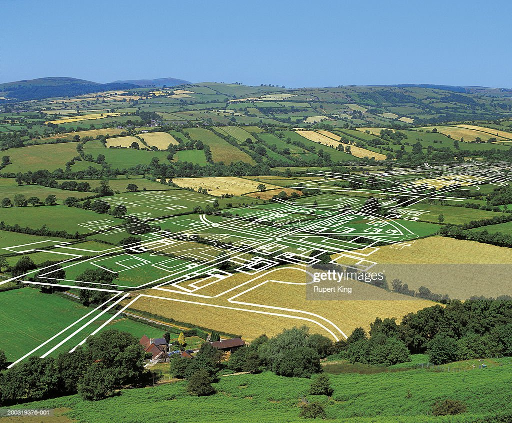 Development plans on rural valley (digital composite)