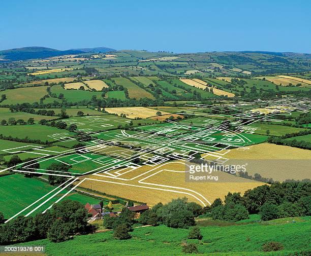 Development plans on rural valley (digital composite)