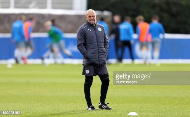 Development squad coach Steve Beaglehole of Leicester City looks on as players warmup ahead of the Premier League 2 match between Leicester City and...