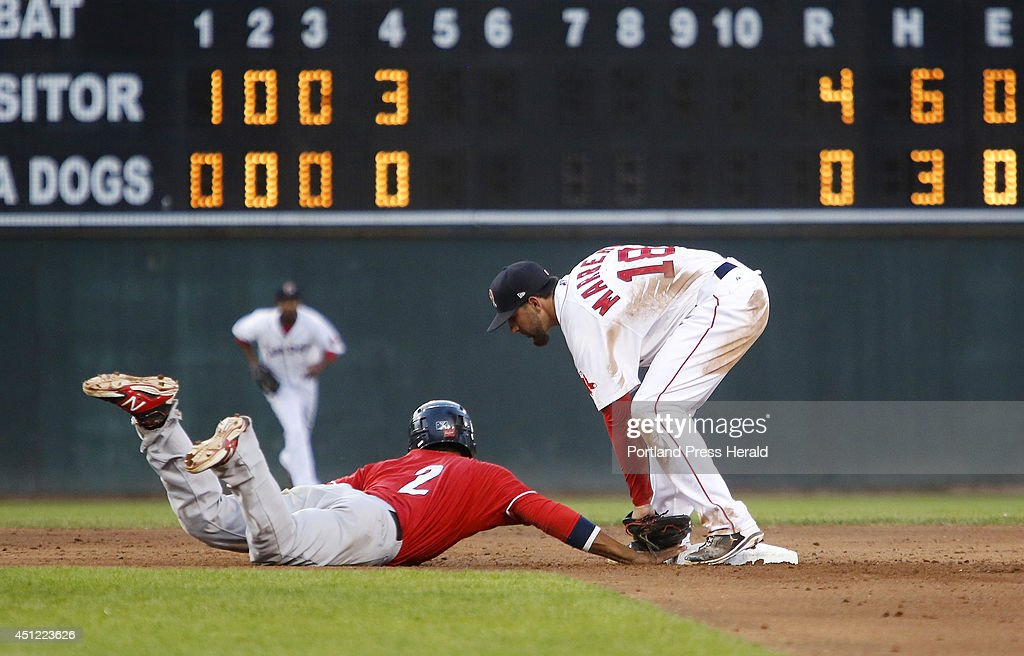 Deven Marrero of Portland applies the tag to Kenny Wilson of New Hampshire to get the out on a pick-off play during the 5th inning.