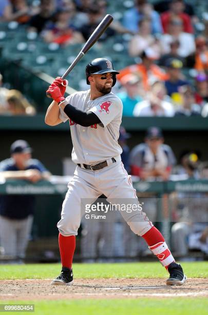 Deven Marrero of the Boston Red Sox bats against the Baltimore Orioles at Oriole Park at Camden Yards on June 4 2017 in Baltimore Maryland