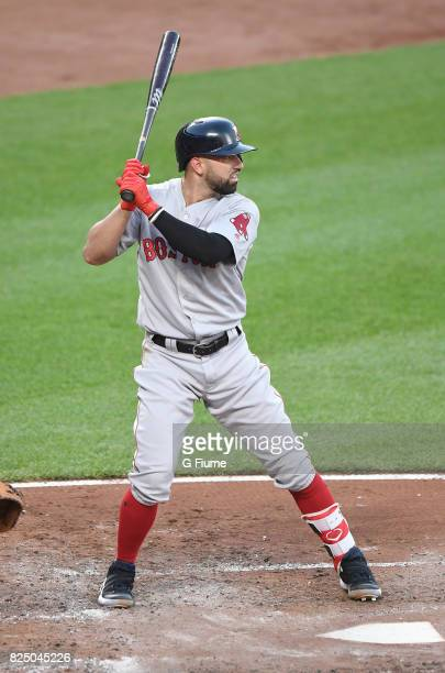 Deven Marrero of the Boston Red Sox bats against the Baltimore Orioles at Oriole Park at Camden Yards on June 3 2017 in Baltimore Maryland