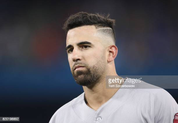 Deven Marrero of the Boston Red Sox during a pitching change in the sixth inning during MLB game action against the Toronto Blue Jays at Rogers...
