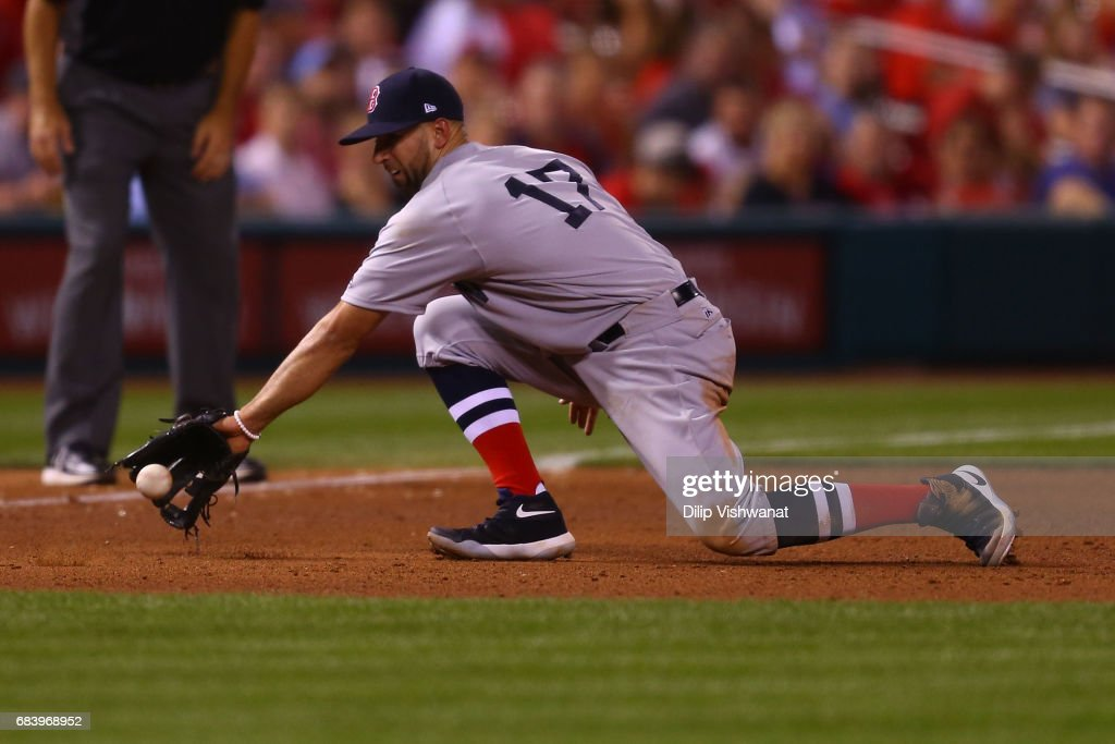 Deven Marrero #17 of the Boston Red Sox fields a ground ball against the St. Louis Cardinals in the fifth inning at Busch Stadium on May 16, 2017 in St. Louis, Missouri.