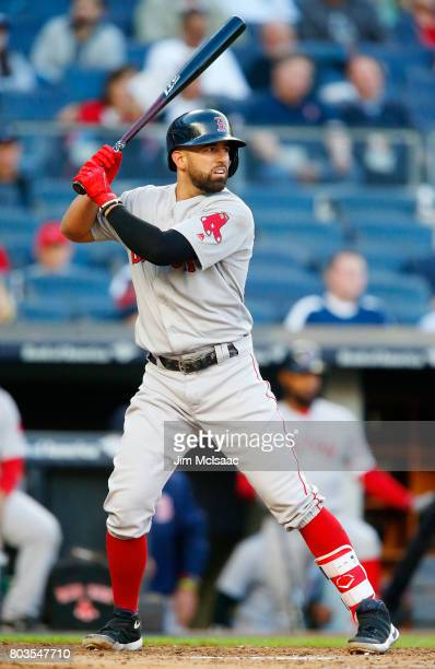 Deven Marrero of the Boston Red Sox in action against the New York Yankees at Yankee Stadium on June 7 2017 in the Bronx borough of New York City The...