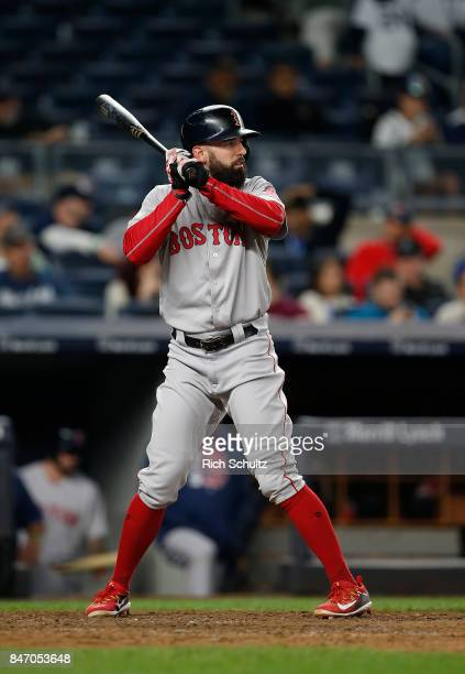 Deven Marrero of the Boston Red Sox in action against the New York Yankees during a game at Yankee Stadium on September 3 2017 in the Bronx borough...