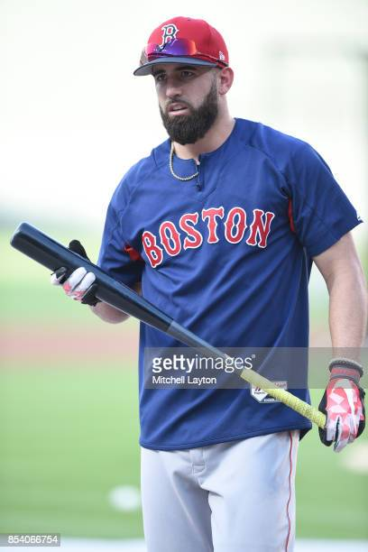 Deven Marrero of the Boston Red Sox looks on during batting practice of a baseball game against the Baltimore Orioles at Oriole Park at Camden Yards...