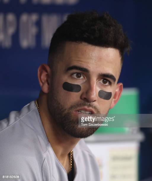 Deven Marrero of the Boston Red Sox looks on from the dugout during MLB game action against the Toronto Blue Jays at Rogers Centre on July 2 2017 in...