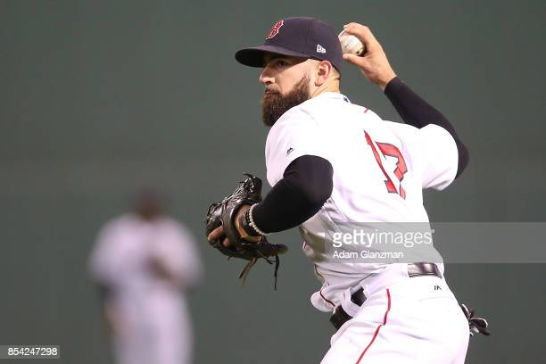 Deven Marrero of the Boston Red Sox makes a throws to first base in the sixth inning of a game against the Toronto Blue Jays at Fenway Park on...