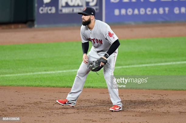 Deven Marrero of the Boston Red Sox plays third base against the Baltimore Orioles at Oriole Park at Camden Yards on September 20 2017 in Baltimore...
