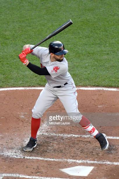 Deven Marrero of the Boston Red Sox prepares for a pitch during a baseball game against the Baltimore Orioles at Oriole Park at Camden Yards on June...
