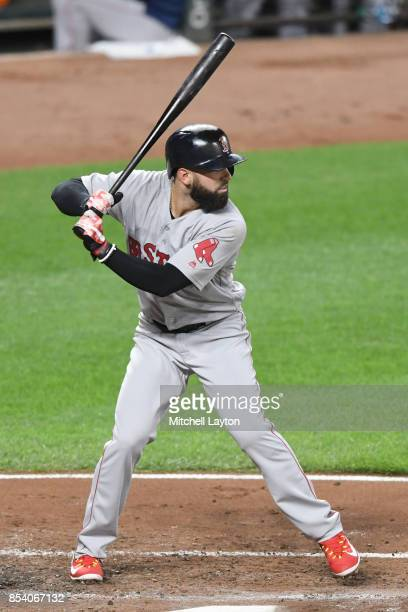 Deven Marrero of the Boston Red Sox prepares for a pitch during a baseball game against the Baltimore Orioles at Oriole Park at Camden Yards on...