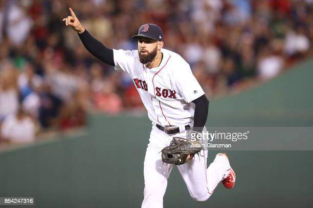 Deven Marrero of the Boston Red Sox reacts after making the third out in the sixth inning of a game against the Toronto Blue Jays at Fenway Park on...