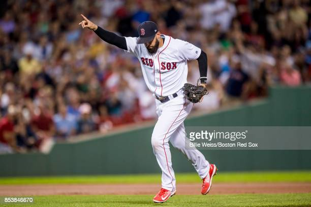 Deven Marrero of the Boston Red Sox reacts after tagging out two baserunners in one inning during the sixth inning of a game against the Toronto Blue...
