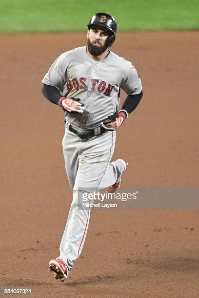 Deven Marrero of the Boston Red Sox runs to third base during a baseball game against the Baltimore Orioles at Oriole Park at Camden Yards on...