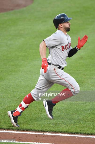 Deven Marrero of the Boston Red Sox runs towards first base against the Baltimore Orioles at Oriole Park at Camden Yards on June 3 2017 in Baltimore...