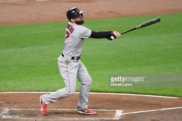 Deven Marrero of the Boston Red Sox takes a swing during a baseball game against the Baltimore Orioles at Oriole Park at Camden Yards on September 20...