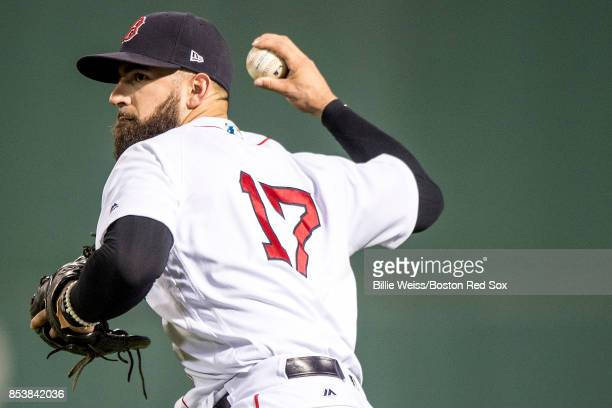 Deven Marrero of the Boston Red Sox throws during the fifth inning of a game against the Toronto Blue Jays on September 25 2017 at Fenway Park in...
