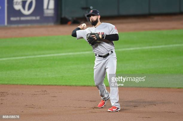 Deven Marrero of the Boston Red Sox throws the ball to first base against the Baltimore Orioles at Oriole Park at Camden Yards on September 20 2017...