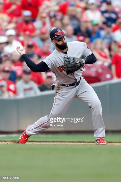 Deven Marrero of the Boston Red Sox throws the ball to second base to force an out during the game against the Cincinnati Reds at Great American Ball...