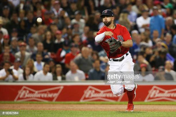 Deven Marrero of the Boston Red Sox throws to first base in the seventh inning of a game against the New York Yankees at Fenway Park on July 14 2017...
