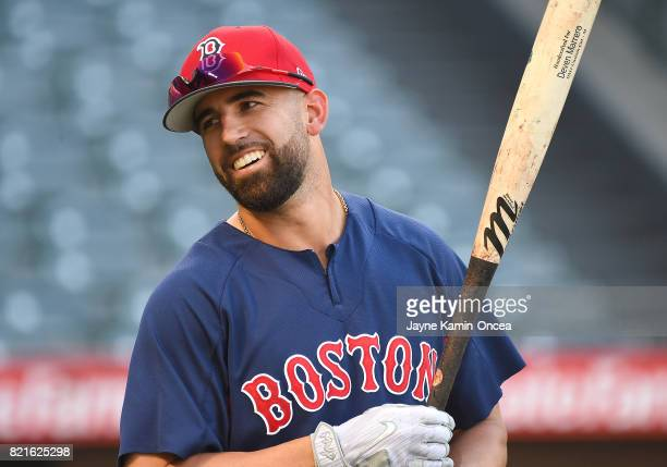 Deven Marrero of the Boston Red Sox warms up before the game against the Los Angeles Angels of Anaheim at Angel Stadium of Anaheim on July 21 2017 in...