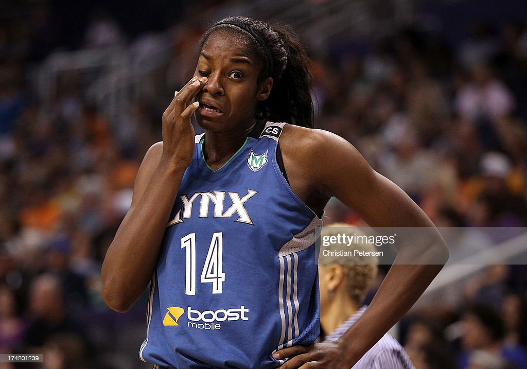 Devereaux Peters #14 of the Minnesota Lynx reacts after being fouled by the Phoenix Mercury during the first half of the WNBA game at US Airways Center on July 21, 2013 in Phoenix, Arizona.