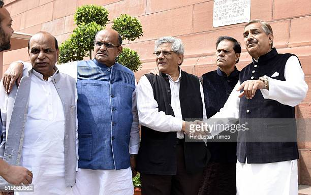 Devi Prasad Tripathi of NCP KC Tyagi of JDU Sitaram Yechury of CPIM Subbarami Reddy and Pramod Tiwari of Congress at Parliament during the ongoing...