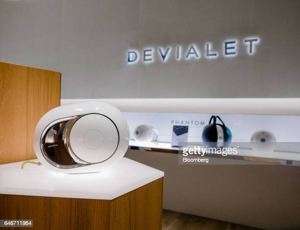 A Devialet SAS Phantom wireless speaker sits on display at the Analogue Digital Hybrid amplification technology company's showroom in Paris France on...